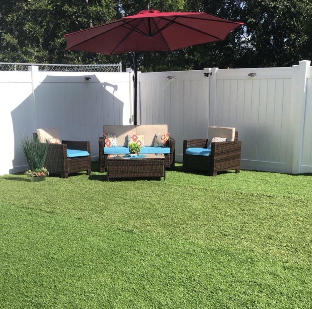 residential backyard artificial grass turf